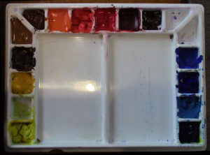 Watercolor Palette With Paint
