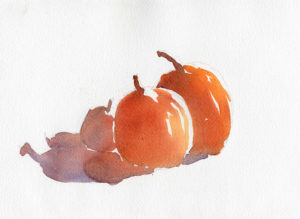 Watercolor Quick Sketch of Pumpkins