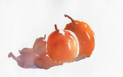 Fast And Loose Watercolor Sketch – Portrait of Pumpkins