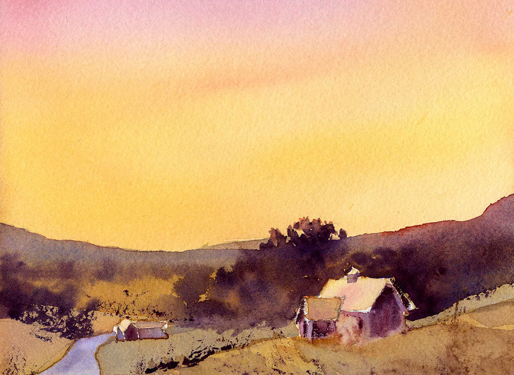 Paint An Evening Sky In Watercolor Turorial Lesson