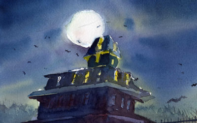 Paint A Spooky Halloween House In Watercolor Video Tutorial