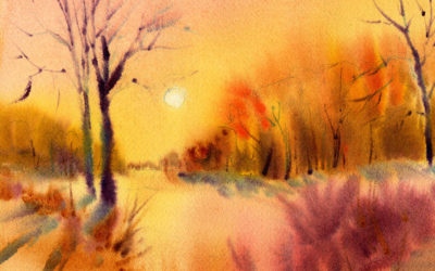 Fast And Loose Sunset Landscape Painting In Watercolor