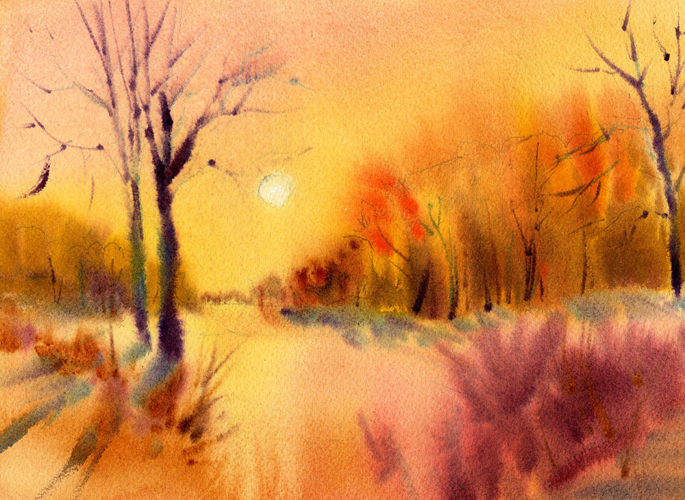Sunset Watercolor Painting Wet N Wet