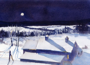 Dramatic Winter Night Landscape Watercolor Painting Tutorial