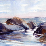 Quiet Seascape Scene From A Two Minute Sketch - Watercolor Painting Lesson