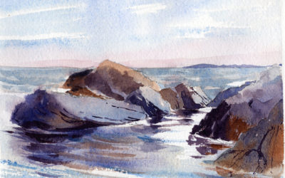 Quiet Seascape Scene From A Two Minute Sketch – Watercolor Painting Lesson