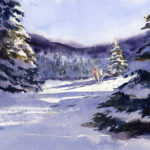 Winter Snow Landscape With Fir Trees - Watercolor Painting Lesson