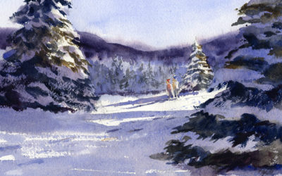 Winter Snow Landscape With Fir Trees – Watercolor Painting Lesson