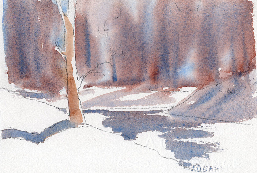Winter Landscape Scene In Watercolor In Two Minutes