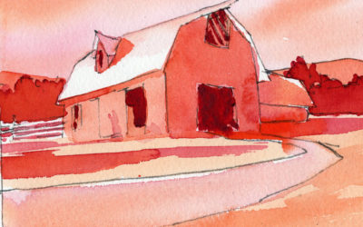 Simple Warm Colors In A Rural Watercolor Painting