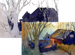 Value Sketch To Color Painting - Watercolor Painting Lesson