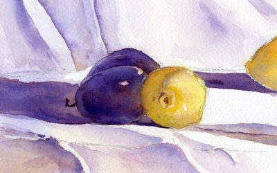 Lemons and Plums Still Life – Watercolor Painting Lesson