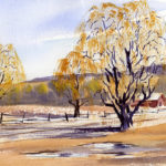 Early Spring Landscape With Willow Trees - Watercolor Painting Lesson