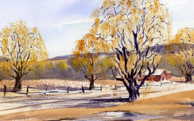 Early Spring Landscape With Willow Trees – Watercolor Painting Lesson