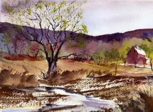 Painting An Early Spring Landscape - Watercolor Painting Lesson