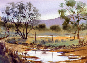Watercolor landscape painting with puddle by Tony Conner