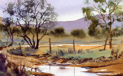 Rainy Day Summer Landscape Painting In Watercolor Lesson