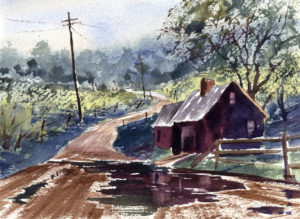 Rainy Landscape With Dark Puddles Watercolor Painting Lesson