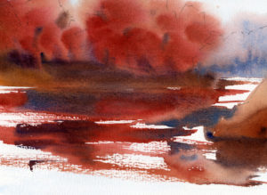Fast Sketch - Autumn Trees on a River Bank