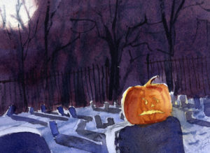 Spooky Scene for Halloween - Watercolor Painting Lesson