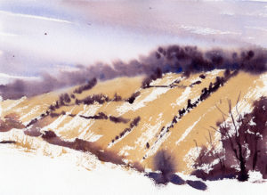 Quick Winter Scene Online Watercolor Painting Lesson