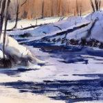 Winter Landscape Stream Watercolor Lesson