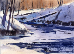 Winter Landscape Stream Watercolor Lesson