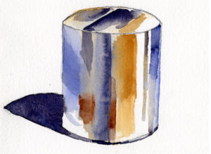 paint reflective shiny objects in watercolor