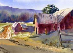rural scene with barn watercolor painting