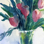 pink tulips in glass vase watercolor painting lesson