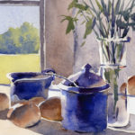 still life watercolor painting on hot press paper
