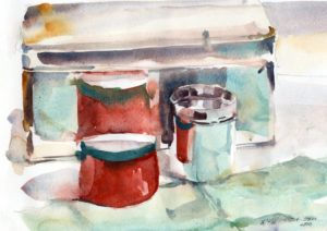 watercolor still life painting with reflections