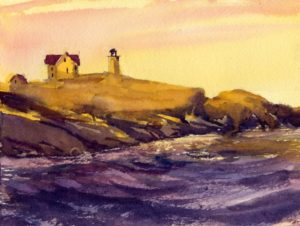 small watercolor painting of nubble light