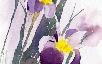 Irises In Vignette Painting Lesson