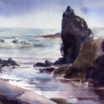 rocky shoreline watercolor seascape painting