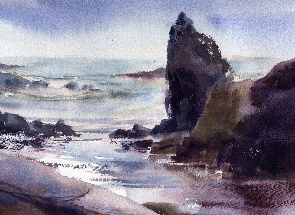 rocky shoreline watercolor seascape painting