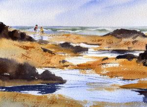 beach scene with figures