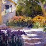 garden path scene watercolor painting lesson