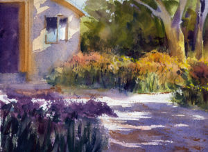 garden path scene watercolor painting lesson