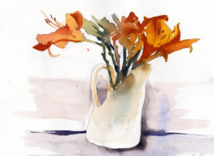 Day Lilies In A Vase - Watercolor Sketch Lesson