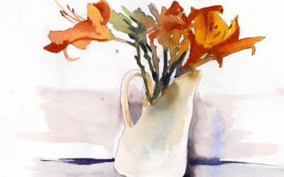 Day Lilies In A Vase – Watercolor Sketch Lesson