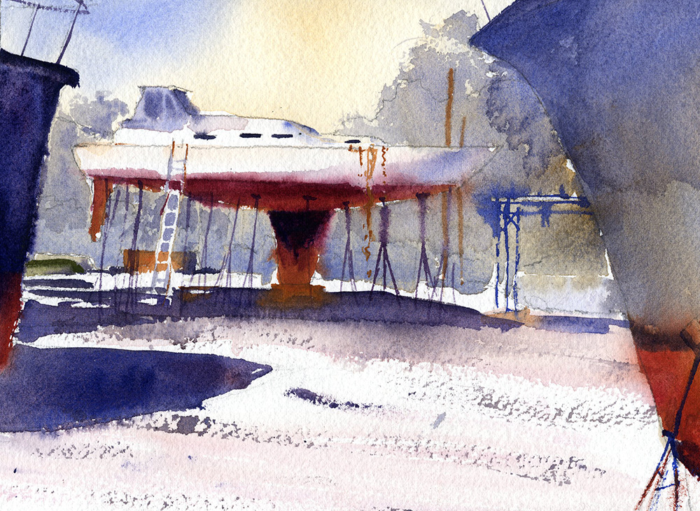 watercolor painting of a boat yard