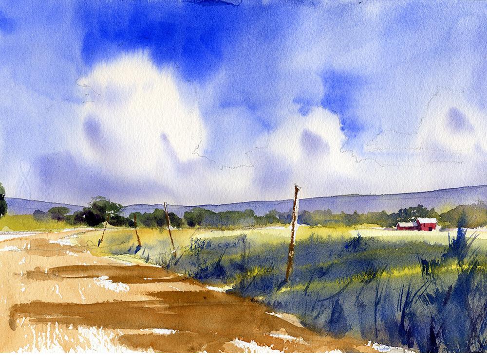 North Bound Lanes - en plein air watercolor landscape painting