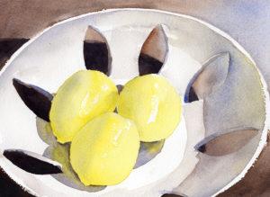 Painting Lemons In Light Bowl