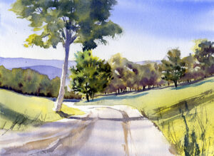 watercolor landscape painting with trees