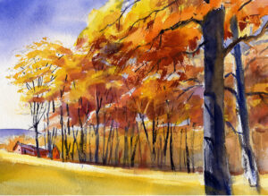 painting of trees with autumn leaves