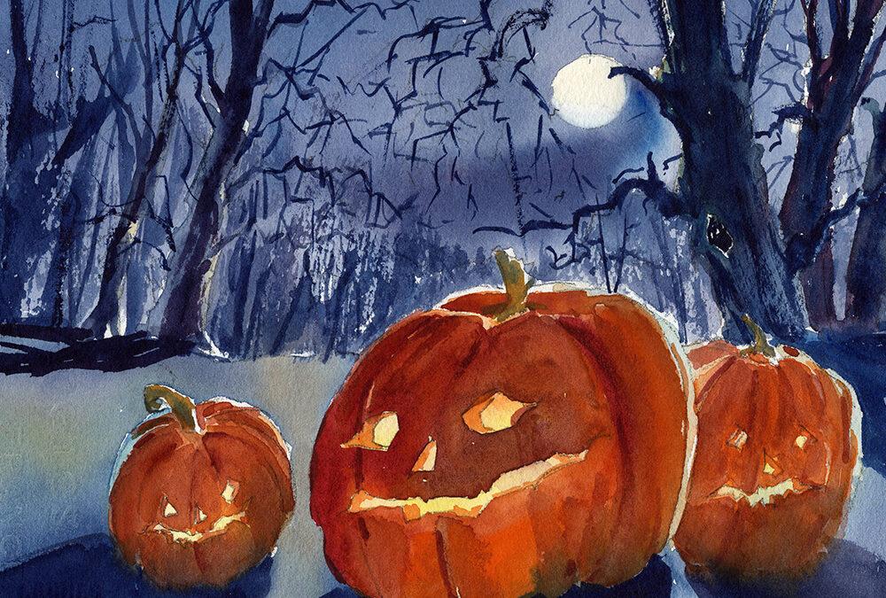 Halloween Pumpkins In Watercolor