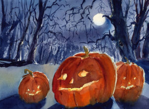 halloween watercolor painting with pumpkins