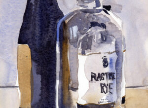 clear glass bottle painted on hot press paper