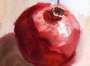 watercolor painting of red pomegranate watercolor lesson